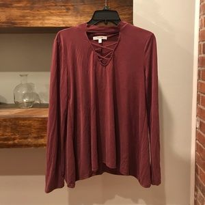Long Sleeve Maroon V Neck Shirt
